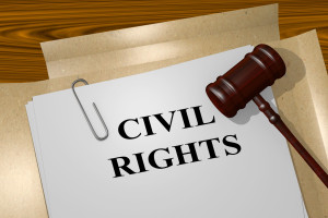 56369778 - 3d illustration of civil rights title on legal documents. legal concept.